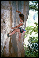 "Sheryl Lehman climbing ""Fried Rice with Chicken"" (7a) at Defile Exit"