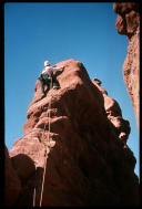 David Benson leading third pitch of Ancient Art, Fisher Towers, Moab, Utah