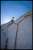 Bird Man high on Cathedral Spire, Yosemite
