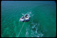 Towing the inflatable, Abacos Bahamas