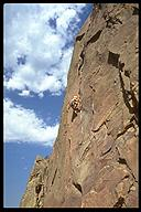The classic Bastille Crack (5.7). Eldorado Canyon, Boulder, Colorado