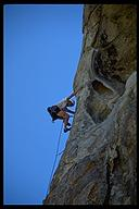 David Benson leading Nipples and Clits (5.10a) at City of Rocks. Idaho