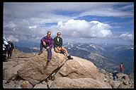 Dennis Maher and David Benson at the summit on Long's Peak. Rock Mountain National Park, Colorado