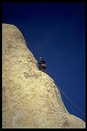Shaun Lauder on Loose Lady (5.9+), a Joshua Tree classic. Joshua Tree NP, California