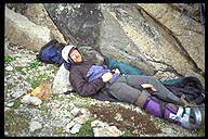 Mark Gallagher in good spirits, inspite of a broken leg. Wind River Range, Wyoming