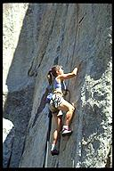 Mary McKenney climbing at City of Rocks. City of Rocks, Idaho