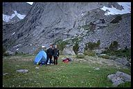 Ian Springsteel and David Benson camped near Pingora. Wind River Range, Wyoming