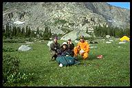 The Jenny Lake Rescue Team along with their patient, Mark. Wind River Range, Wyoming
