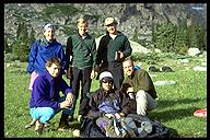 Our Wind River Range crew. (back l-r) Hilary Coolidge, David Benson, Ian Springsteel. (front l-r) Simon Carr, Mark Gallagher, Mike DiChicco. Not present Dave Oka