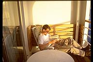 Eric Benson, relaxing onboard the ship