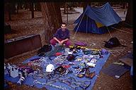 The age old Yosemite tradition - sorting gear for a wall. Yosemite, California