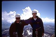 Ian Springsteel and David Benson on the summit of the Grand Teton, Wyoming