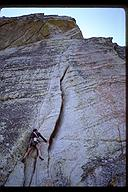 Steve Angelini leading variation on the second pitch of Traveller's Buttress (5.9), Lover's Leap, California